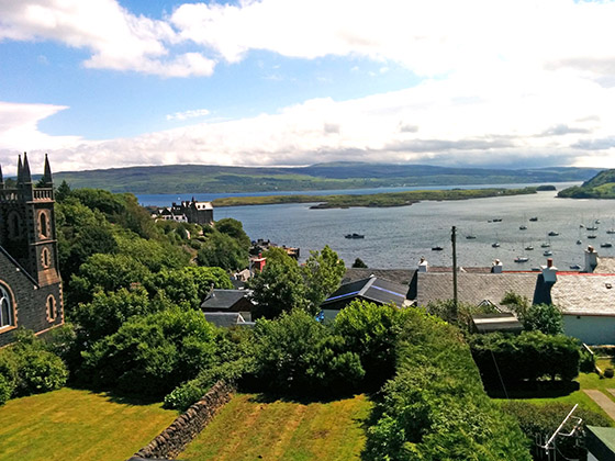 View from the top floor  in The Rowans Sef Catering Tobermory